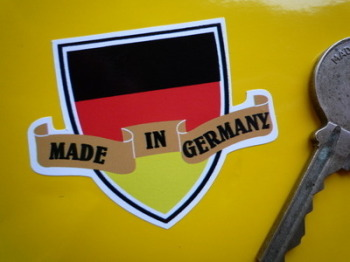 "Made in Germany Shield & Scroll Sticker. 2""."