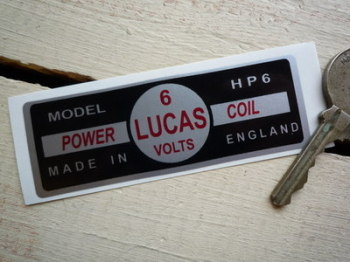Lucas Power Coil Sticker. HP6 6V. 20.