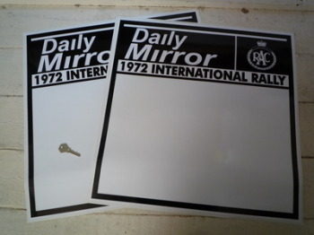 "Daily Mirror RAC 1972 International Rally Door Panel Stickers. 21"" Pair."