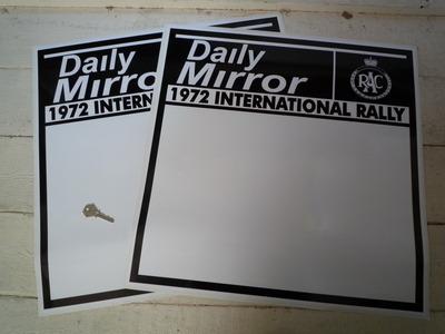 "Daily Mirror RAC 1972 International Rally Door Panel Stickers. 21"" Pair."