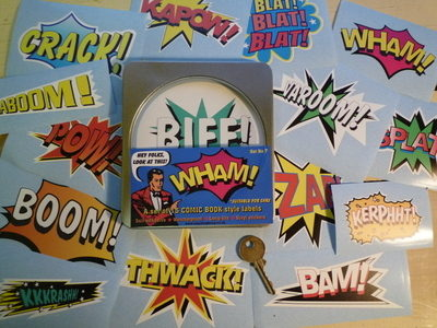 Vintage Style Action Comic Book Labels Set of 15 Stickers in Gift Tin.