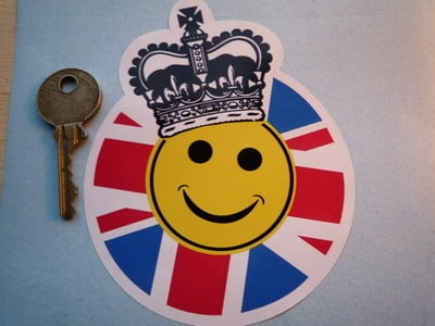 "Royal Celebration Smiley Face with Union Jack & Crown Sticker. 3.5""."