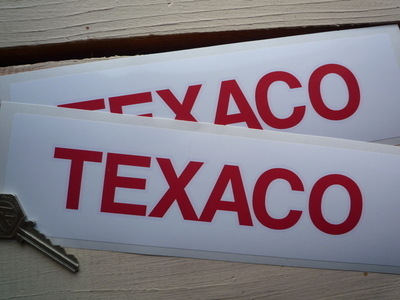 "Texaco Red & White Oblong Text Stickers. 9"" Pair."