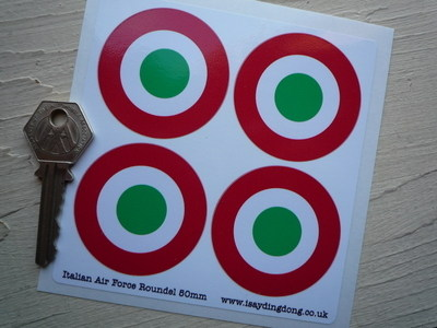 Italia Italy Italian Air Force Tricolore Roundel Stickers. Set of 4. 50mm.