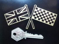 """Union Jack & Chequered Crossed Straight Flags Sticker. 4""""."""