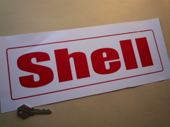 """Shell Red on White Petrol Pump Text Sticker. 13""""."""