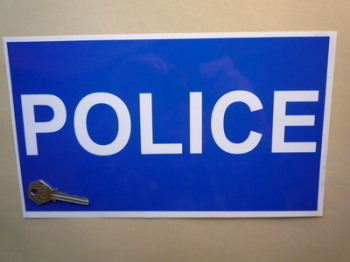 "Police White on Blue Pedal Car Sticker. 12""."