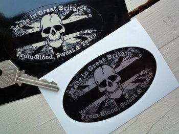 "Made in Great Britain from Blood, Sweat & Tears. Fade To Black Sticker. 4""."