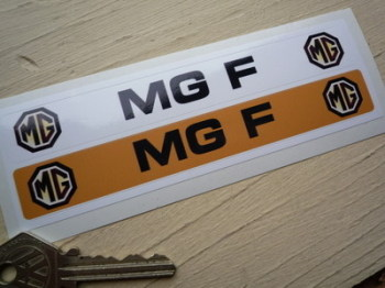 """MG F Number Plate Dealer Logo Cover Stickers. 5.5"""" Pair."""