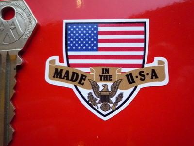 "Made in the USA Shield & Scroll Sticker. 2""."