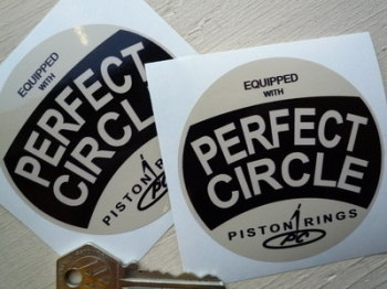 "Perfect Circle Piston Rings Black & Cream Stickers. 3"" Pair."