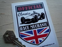 Official Classic Race Mechanic Open Wheel Formula Car Style Shield Sticker. 3