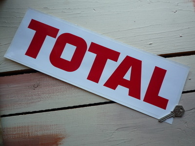 "Total Red Text on White Sticker. 12.5"" or 16""."