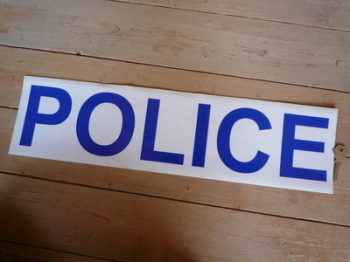 "Police Blue on White Pedal Car Sticker. 22""."