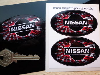 "Nissan Fade To Black Oval Hinomaru Stickers. 3"" Pair"
