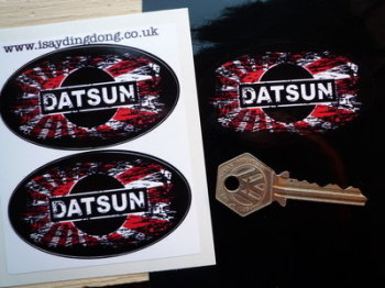 "Datsun Fade To Black Hinomaru Style Stickers. 3"" Pair."