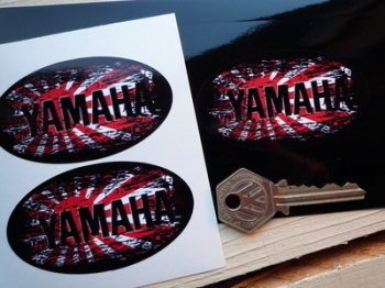 "Yamaha Fade To Black Hinomaru Style Stickers. 3"" Pair."