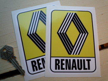 "Renault 1972 & on Yellow Logo & Text Stickers. 2.5"", 4"", 5"", 6"" or 8"" Pair."