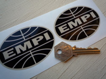 "EMPI Black & Beige Oval Stickers. 3"" Pair."