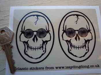 "Skull & Psychedelic Glasses Hippy Stickers. 3"" Pair."