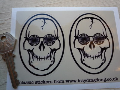 """Skull & Psychedelic Glasses Hippy Stickers. 3"""" Pair."""