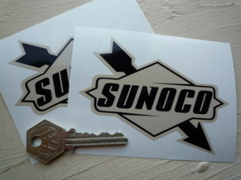 "Sunoco Later Style Black & Beige Stickers. 4"" or 6"" Pair."