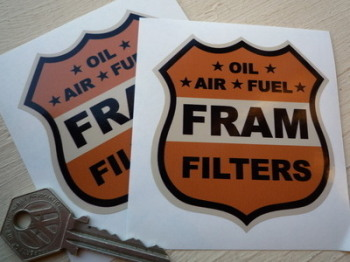 "Fram Filters Shield Orange, Black & Beige Stickers. 3"", 4"" or 6"" Pair."