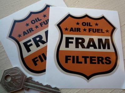 """Fram Filters Shield Orange, Black & Beige Stickers. 3"""", 4"""" or 6"""" Pair."""