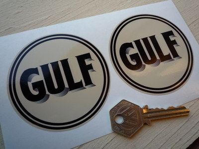 "Gulf Old Style Logo Black & Beige Stickers. 3"" Pair."