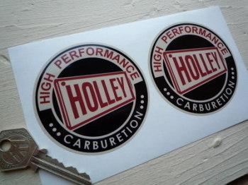 """Holley Carburetion Black, Red & Beige Stickers. 3"""" or 6"""" Pair."""