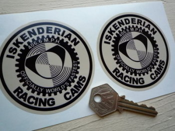 "Iskenderian Racing Cams, Black & Beige Round Stickers. 3"" Pair."