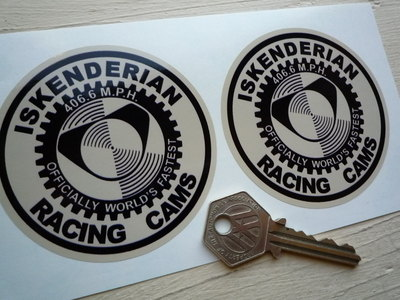 Iskenderian Racing Cams, Black & Beige Round Stickers. 3