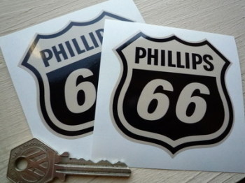 "Phillips 66 Shield Shaped Black & Beige Stickers. 3"" Pair."