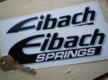 """Eibach Springs Black, White & Grey Shaded Oblong Stickers. 7.5"""" Pair."""