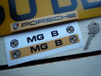 "MG B Number Plate Dealer Logo Cover Stickers. 5.5"" Pair."