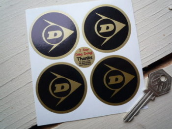 Dunlop Black & Gold Wheel Centre Stickers. Set of 4. 50mm.