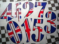 """Union Jack Racing Numbers Stickers. 4"""", 6"""" or 9"""" Tall."""