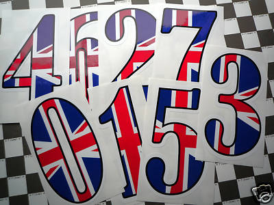 "Union Jack Racing Numbers Stickers. 4"", 6"" or 9"" Tall."