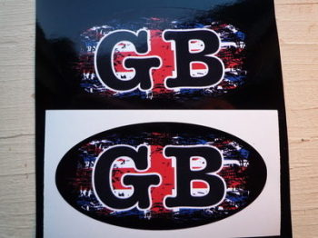 "GB Fade To Black Union Jack ID Plate Stickers. 3"" Pair."