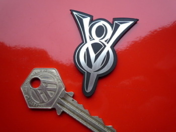 "V8 Powered Laser Cut Self Adhesive Car Badge. 2""."