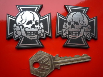"Skull & Iron Cross SS Style Self Adhesive Bike/Car Badges. 2"" Pair."