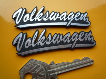 "Volkswagen VW Script Style Self Adhesive Car Badges. 3"" Pair."