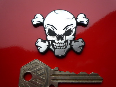 "Skull & Crossbones Laser Cut Self Adhesive Bike/Car Badge. 1"", 1.5"" or 2""."