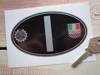 "I Italy Italia & Raci Silver ID Plate Sticker. 5""."