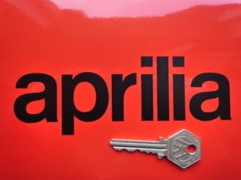 "Aprilia Cut Vinyl Text Stickers. 6"" Pair."