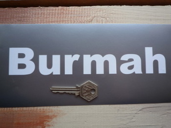 "Burmah Cut Vinyl Spaced Text Stickers. 8.5"" Pair."