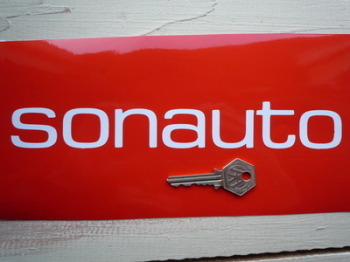"Sonauto Cut Vinyl Text Stickers. 9.5"" Pair."
