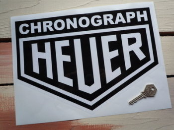 "Chronograph Heuer Sticker. 10""."