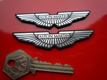 Aston Martin Wings Laser Cut Self Adhesive Car Badge Pair. Various Sizes.