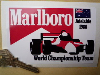 "Marlboro Adelaide 1986 World Championship Team Sticker. 5""."